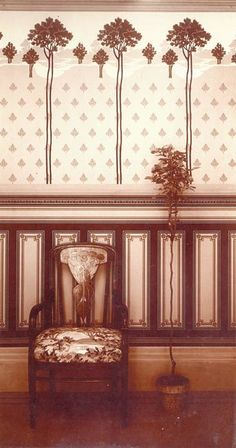 1904 photograph of room decorations by M.H. Birge & Sons of Buffalo, New York, one of the leading wallpaper manufacturers in America.
