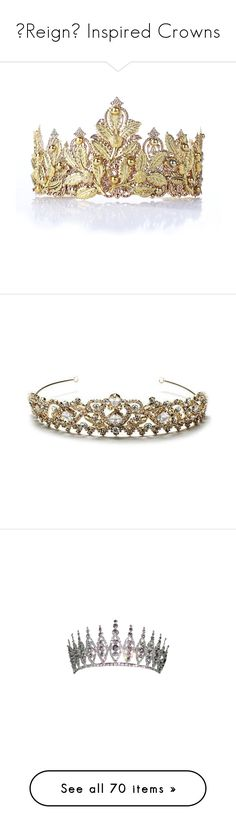 """Reign Inspired Crowns"" by greerflower ❤ liked on Polyvore featuring accessories, hair accessories, metal crown, metal headbands, gold bridal hair accessories, tiara headband, crown tiara, jewelry, tiaras and crowns"