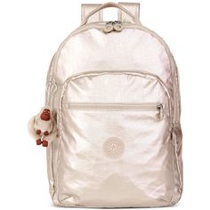 Kipling Seoul Backpack (83.245 CLP) ❤ liked on Polyvore featuring bags, backpacks, gleaming gold metallic, day pack backpack, pink bag, padded backpack, kipling backpack and rucksack bag