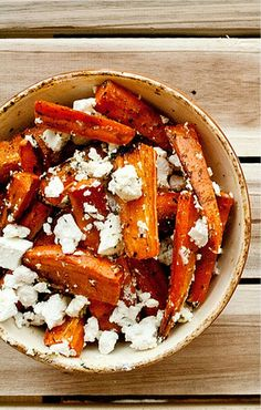 Caramelized Carrots with Feta Cheese - try with sweet potatoes