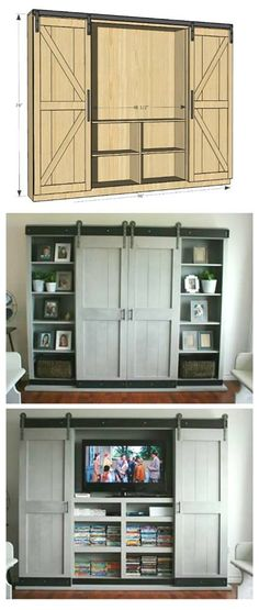 DIY Entertainment Center Ideas and Designs For Your New Home Barn door, built it, hidden entertainment center. Would be great for a bedroom.Barn door, built it, hidden entertainment center. Would be great for a bedroom. Furniture Plans, Living Room Furniture, Refurbishing Furniture, Furniture Design, Furniture Dolly, Wood Furniture, Modern Furniture, Living Rooms, Muebles Living