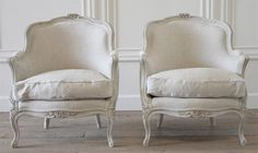 Pair of French Painted Bergeres in Belgian Linen from Full Bloom Cottage