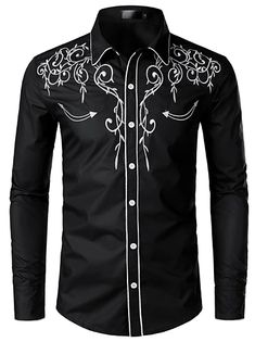 Men's Floral Shirt Basic Long Sleeve Daily Slim Tops Standing Collar White Black Wine / Spring / Work 2021 - Can $34.14 Mens Cowboy Shirts, Cheap Mens Shirts, Mens Shirts Online, Western Shirts, Shirt Men, Slim Fit Dress Shirts, Slim Fit Dresses, Fitted Dress Shirts, Chemises Country
