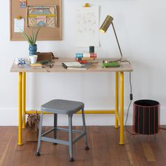 Schoolhouse Foundry Desk - Industrial Yellow, Steel Frame with Solid Maple Top. Designed in-house and custom-made in the USA.