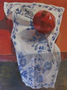 """Sarah Sedwick """"Red, White and Blue Pomegranate"""" Oil on Canvas 12"""" x 9"""" 2013"""