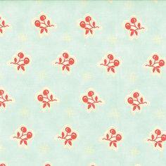HALF METRE MODA AVALON - RED CHERRIES ON PALE DUCKEGG BLUE COTTON FABRIC 2447 | eBay