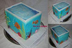 Aquarium Cake — Birthday Cakes                                                                                                                                                     More 9th Birthday, Birthday Party Themes, Cake Birthday, Birthday Ideas, Aquarium Cake, Tank Cake, Little Mermaid Birthday, Cake Central, Cupcake Cakes