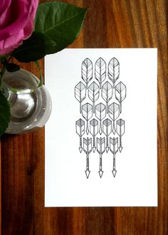 original feathers drawing - 'flight' - a geometric, hand drawn feathers and arrows illustration in black and white