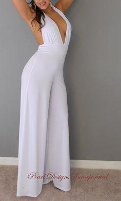 sexy halter maxi jumpsuit boho gaucho pants white