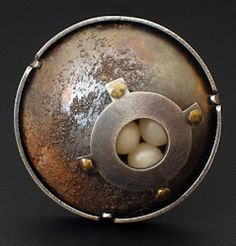 """David Clemons, """"Containment"""" Brooch.  Sterling, nickel silver and polymer clay.  Penland Metals Classes"""