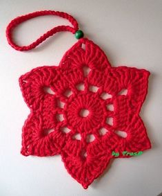 "Képtalálat a következőre: ""napkin ring crochet pattern"" Crochet Ornament Patterns, Crochet Snowflake Pattern, Crochet Stars, Crochet Motifs, Christmas Crochet Patterns, Holiday Crochet, Crochet Snowflakes, Crochet Flowers, Crochet Christmas Decorations"