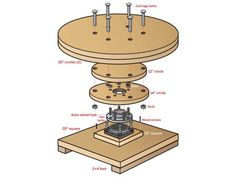 Heavy Duty Turntable for Scanning People - gadgets - Design Studio Office, Recording Studio Design, Diy Turntable, 3d Printing Diy, Carriage Bolt, Home Studio Music, 3d Printer Projects, 3d Prints, Wood Screws