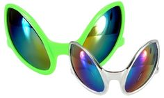 """Space Alien Close Encounter Sunglasses - Prepare for the invasion. These funky glasses are perfect for your next Halloween costume as a Grey alien or just a wild night out on the town.These alien glasses come in both green and silver, and are made out of a sturdy plastic with a glossy finish. The frames have an exaggerated, angular eye shape to resemble a typical """"Grey"""" alien eye. The lenses are dark tinted with a mirrored finish. #alien #glasses #yyc #costume"""