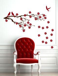 Vinyl Decal Cherry Blossom Tree branch wall art decor Japanese Wall Sticker , Asian Sakura office wall decoration