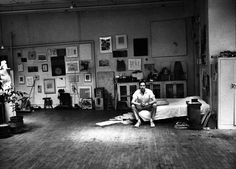 Robert Rauschenberg in his Broadway studio, New York City, c. 1965. Photo by Alexander Liberman.