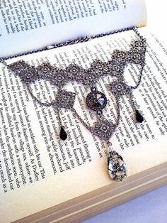 Gothic Choker Necklace Crystal Black Patina Swarovski Victorian Gothic Jewelry by ApplebiteJewelry