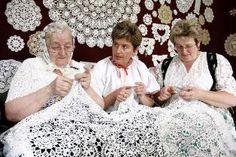 the famous crochet ladies in koniakow
