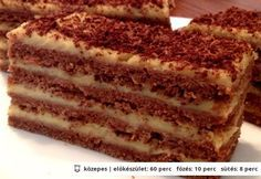 Letti szelet My Recipes, Cake Recipes, Dessert Recipes, Cooking Recipes, Favorite Recipes, Hungarian Desserts, Hungarian Recipes, Hungarian Food, Sweet And Salty