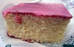 """Tottenham Cake, a North London speciality  """"was originally sold by the baker Henry Chalkley (who was a Friend or Quaker) at the price of 1 old penny, with smaller mis-shaped pieces sold for 1/2 an old penny"""", adding that the pink colouring was derived from mulberries found growing at the Tottenham Friends burial ground. (Wiki)"""