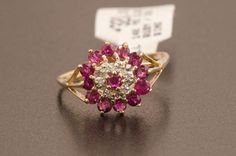 Solid 14K Yellow Gold Genuine Ruby & Natural Diamond Ring 2.2
