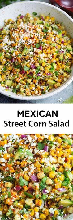 Street Corn Salad - All the flavors of the classic Mexican street corn (elotes) but in salad form with the addition of avocado and onion. Less messy and easier to eat. Perfect side to all your favorite Mexican food! Mexican Food Recipes, Vegetarian Recipes, Cooking Recipes, Healthy Recipes, Mexican Dinners, Mexican Appetizers, Party Appetizers, Recipes With Corn, Mexican Salads