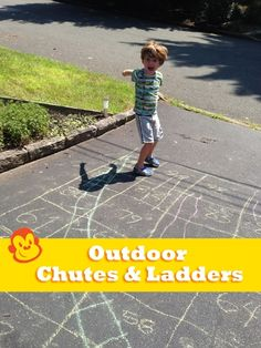 Make a giant Chutes and Ladders board in the driveway! #gamedesign #kids