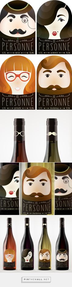 """En personne"" wine labels on Behance by Nika Toropttsova curated by Packaging Diva PD. Finally found a source for this cute wine packaging : )"
