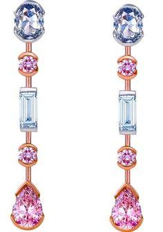 Pink Diamond Ear Pendants by De Beers