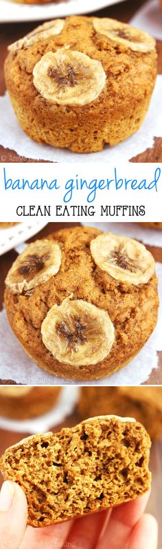 Clean-Eating Banana Gingerbread Muffins -- they practically taste like cupcakes for breakfast!  Super easy & 4g+ of protein!
