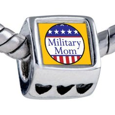 Pugster American Military Mom Beads Fits Pandora Bracelet Pugster. $12.49. Bracelet sold separately. Unthreaded European story bracelet design. It's the photo on the heart charm. Fit Pandora, Biagi, and Chamilia Charm Bead Bracelets. Hole size is approximately 4.8 to 5mm