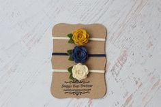 Set of 3 Mini Wool Felt Rose Buds- Mustard, Denim, Cream - Newborn Baby to Adult - Wool Felt Flower Headband