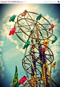 Sky Wheel Carnival Fair Ride by EyeShutterToThink Merry Go Round Carousel, Fair Rides, Horse Mane, Amusement Park Rides, Carnival Rides, Fun Fair, Vintage Carnival, Sky And Clouds, Art Photography