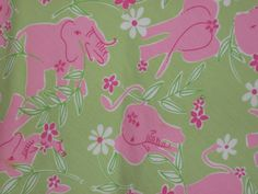 Lilly Pulitzer Skirt Size 8 Green Pink Elephants Flower Bow #LillyPulitzer #ALine
