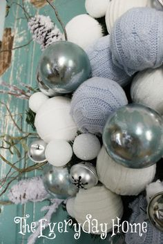 christmas Decor - DIY faux mercury glass ornaments using nail polish remover and a short tutorial on the sweater balls.