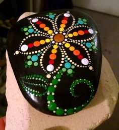 Hand Painted Dot Art Flower ~ Painted Beach Stone ~ Colorful Rainbow Home Decor ~ Ornament ~ Painted Rock by P4MirandaPitrone on Etsy