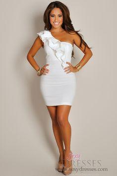 Sexy Haute White Asymmetrical Ruffle Party Mini Dress