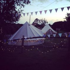 Bell Tent hire for #birthday parties complete with bunting and fairy lights | www.victorialilyevents.co.uk