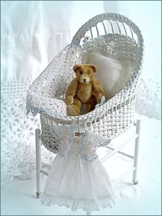 Hither, Thither and Yon: 1:12 scale miniature wicker bassinet, jointed mohair bear and baby clothing