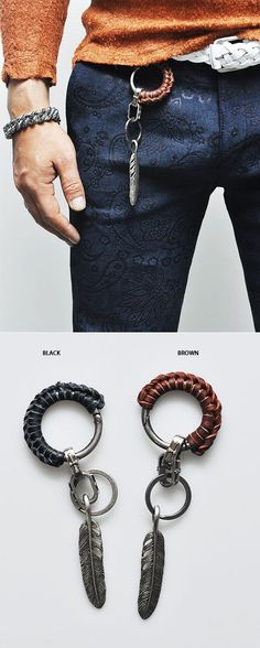 f3cd69a078b Accessories    Leather Coil Antique Leaf Keychain-Gadget 35 - Mens Fashion  Clothing For