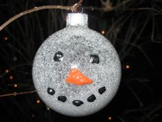 Snowman Glitter Ball Ornament Craft Tutorial