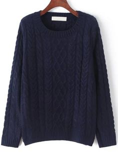 Navy Round Neck Cable Knit Sweater 24.67