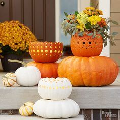 Make your entryway and porch stand out during the fall and Halloween season with these fun and easy DIY decor ideas. Carve pumpkins, use fall flowers for container gardens, make a DIY fall wreath from burlap, or a fun rustic fall display.