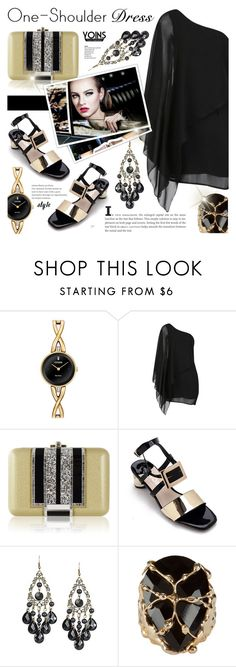 """""""Party Style: One-Shoulder Dress yoins 3.2"""" by cly88 ❤ liked on Polyvore featuring Citizen, Judith Leiber and Rosantica"""