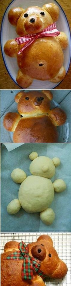 Learn How To Make A Teddy Bear Bread (bread dip recipes) Cute Food, Good Food, Yummy Food, Bread Shaping, Bread And Pastries, Food Decoration, Food Humor, Creative Food, Food Design
