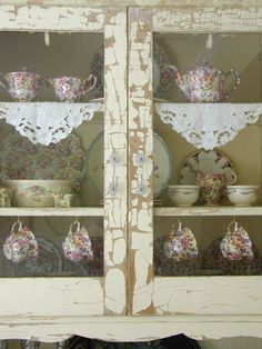try this! adorn rustic kitchen shelves with lace...