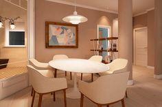 Interior design project for Goya Intercontinental. Modern dining room. #interiordesign #modern #knoll #bouroullec #henningsen #miniforms #marset