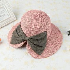 CHICUU - CHICUU Bowknot Large Rolled Brim Foldable Summer Straw Hat - AdoreWe.com