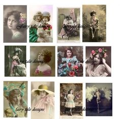 This wonderful collection of altered art vintage images is perfect for your scrapbook, or to use to create jewelry. The images are all before 1921, and have been altered. The sheet contains tweleve beautiful ladies and children. This sheet will be delivered by email without the watermark within twenty four hours of purcahse. It will be shipped in jpeg format for easy use.