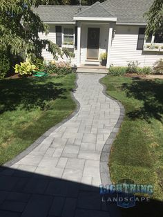 Welcoming Paver Front Walkway by Lightning Landscape, Inc