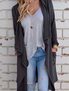 869c3e1b6fd Chicnico Women s Fashion Fall Outfit Gray Cardigans Coat